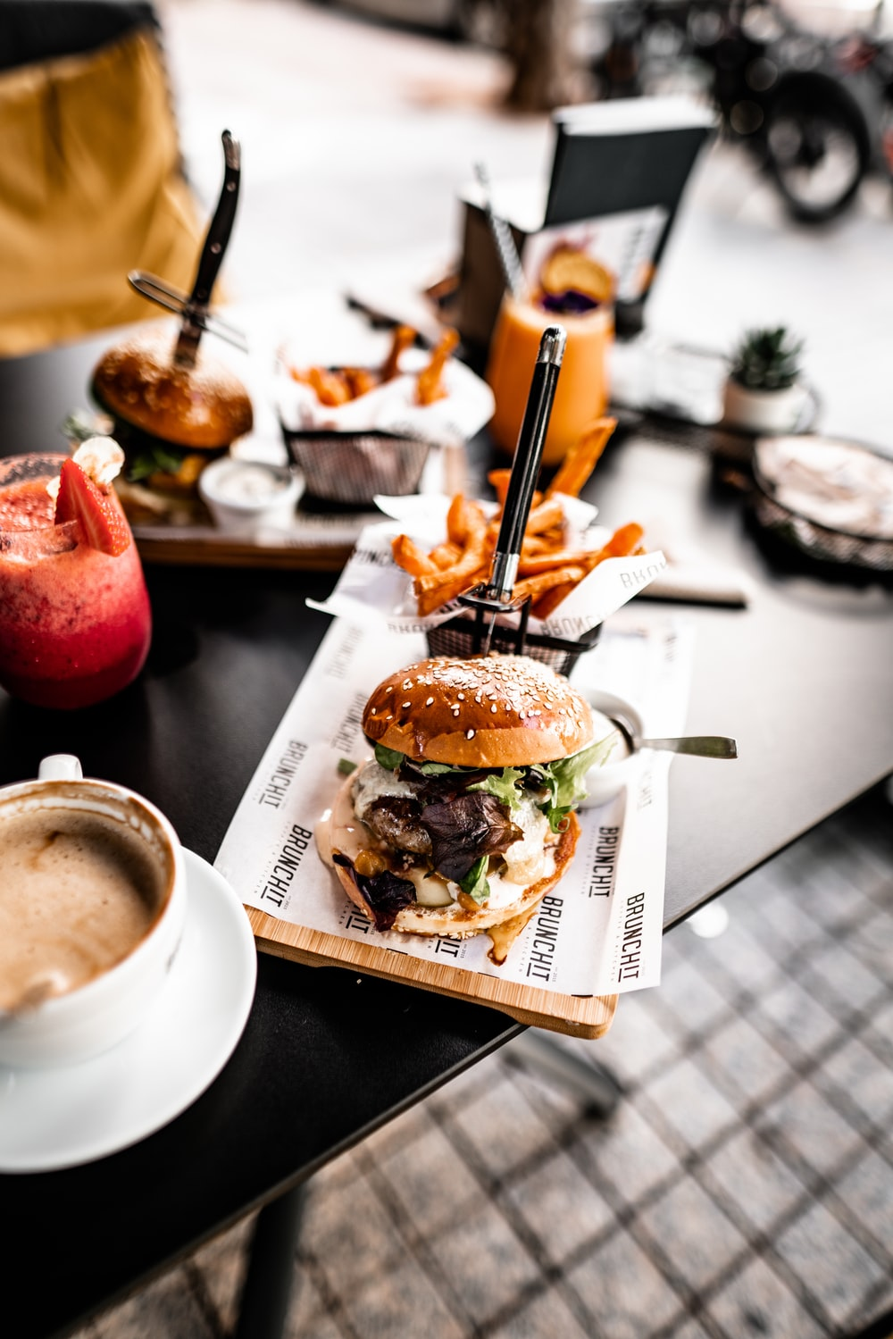 burger and fries on tray
