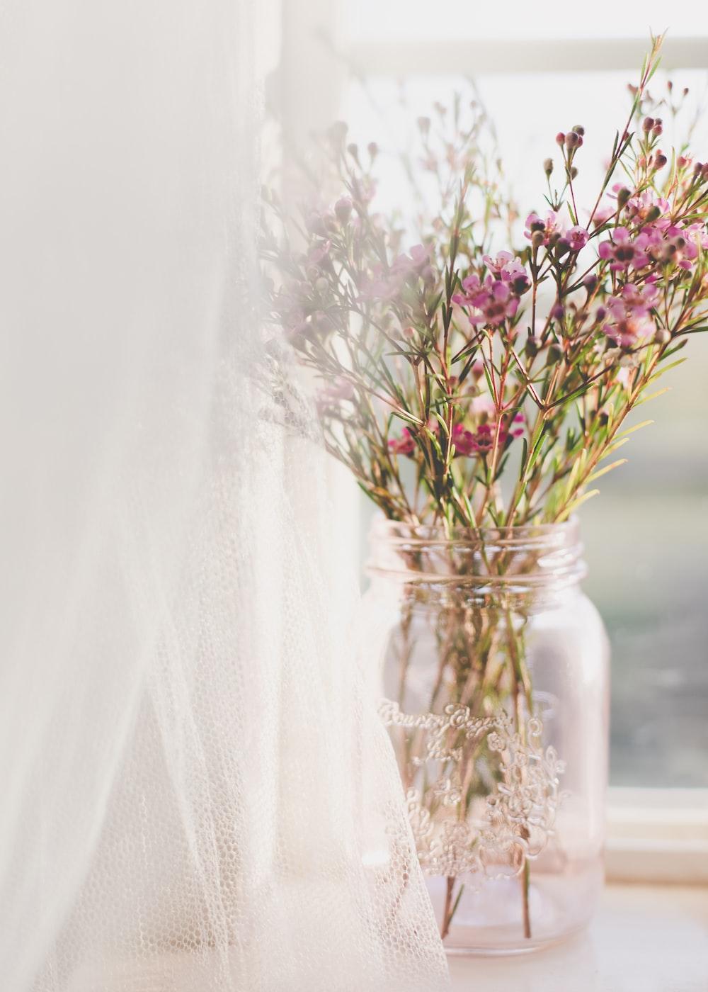 jar of pink-petaled flower near window