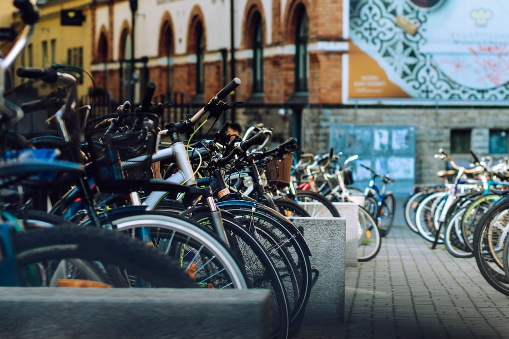 parked bicycles during daytime