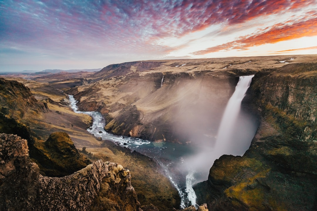 Sunset In Iceland At Haifoss, Iceland. - unsplash