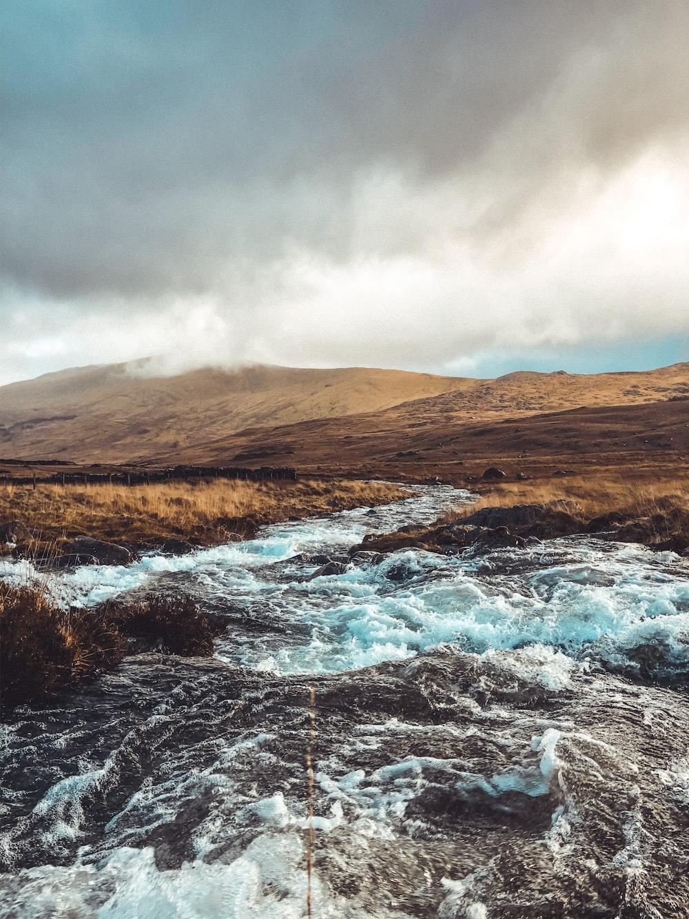 water hitting rocks