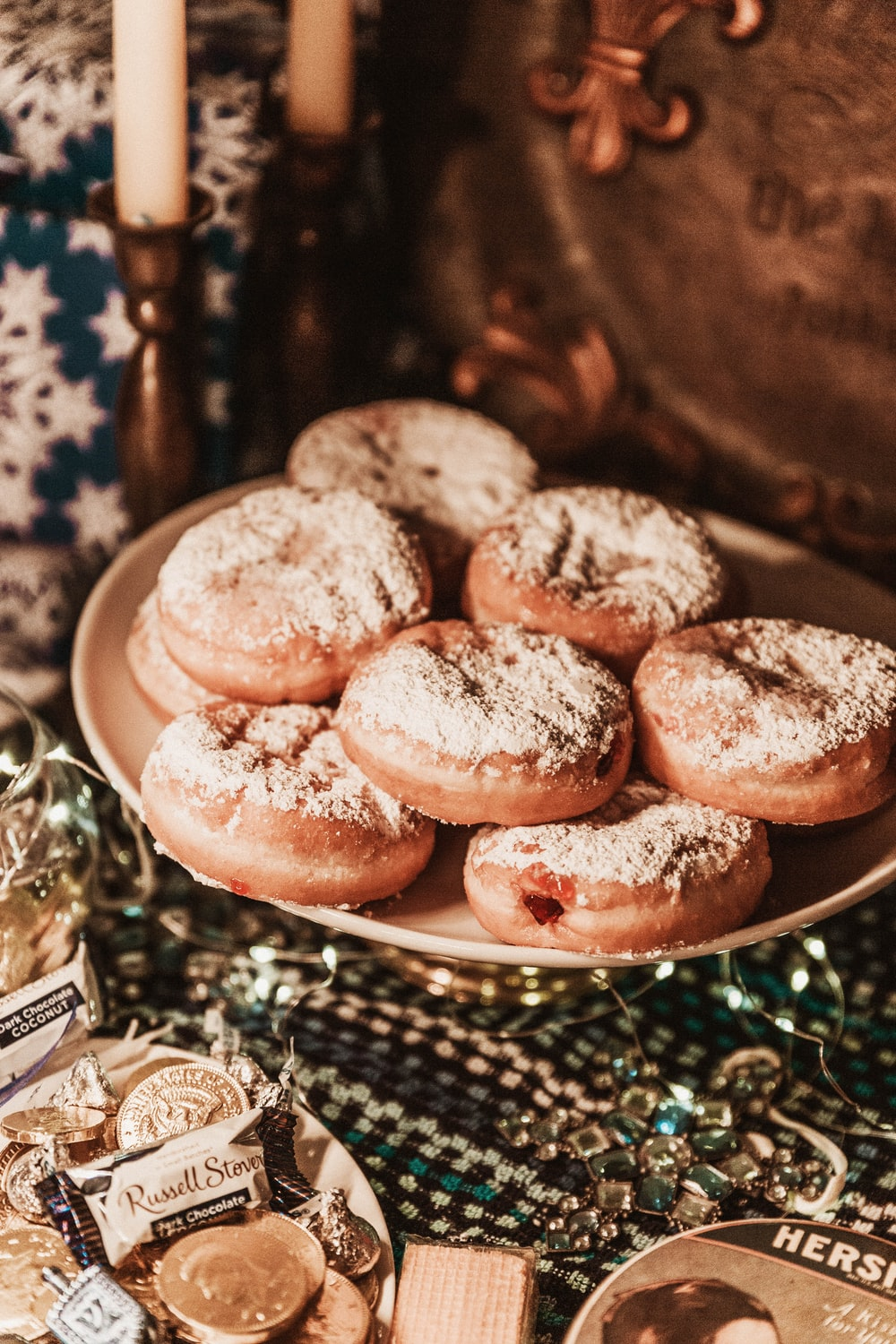 doughnuts on round plate