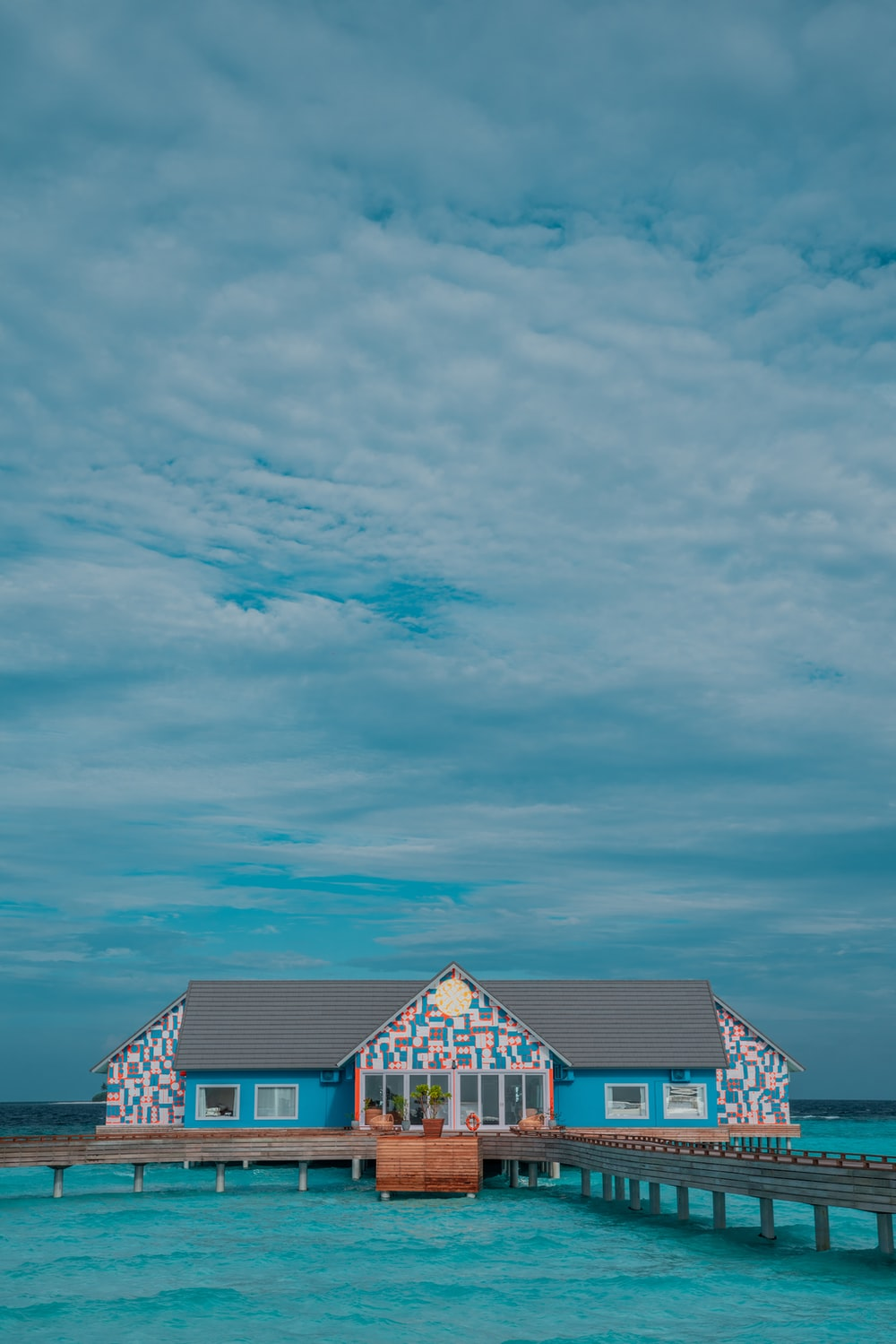 gray and blue house