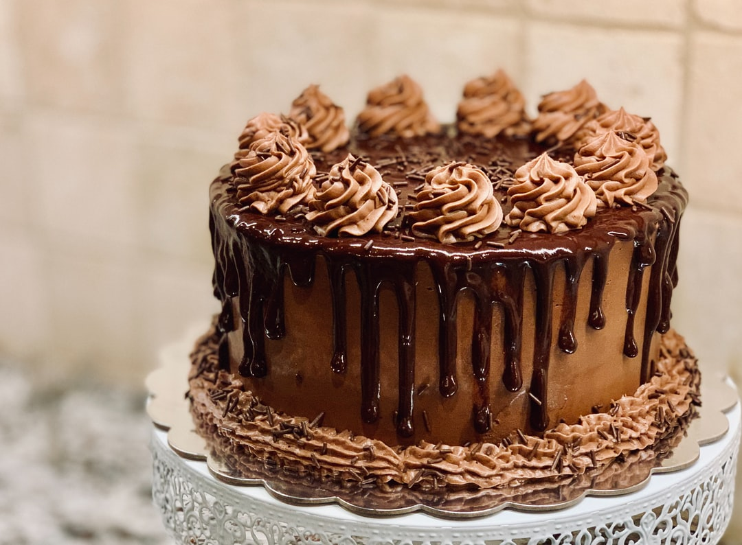 Chocolate Cake, Flowers, Dessert, Blue, Brown, Party, 2020, January