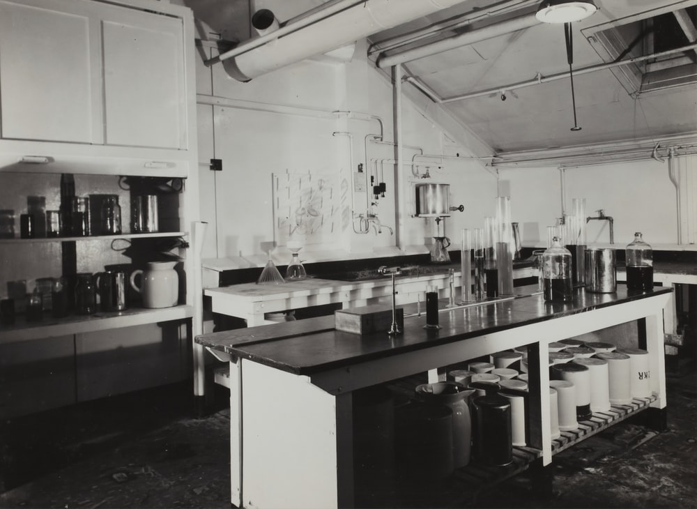 grayscale photography of kitchen