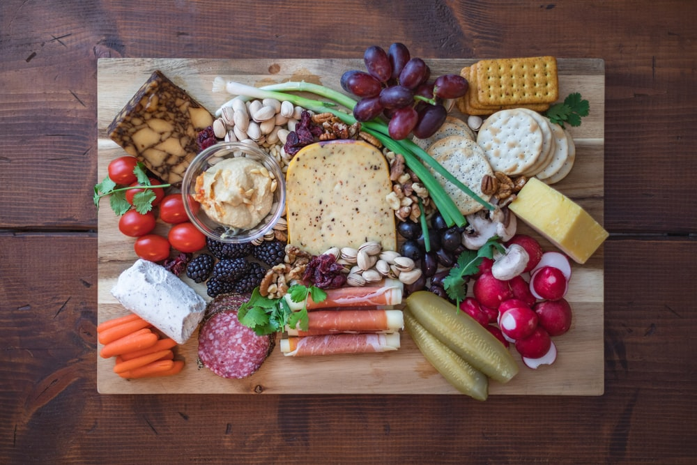tray of food on wooden surface