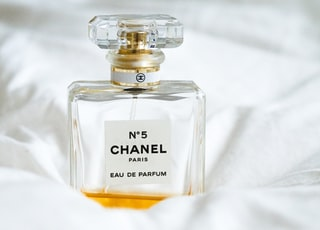 N5 Chanel fragrance bottle on white surface