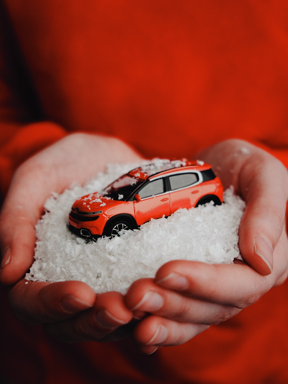 person holding red vehicle die-cast model