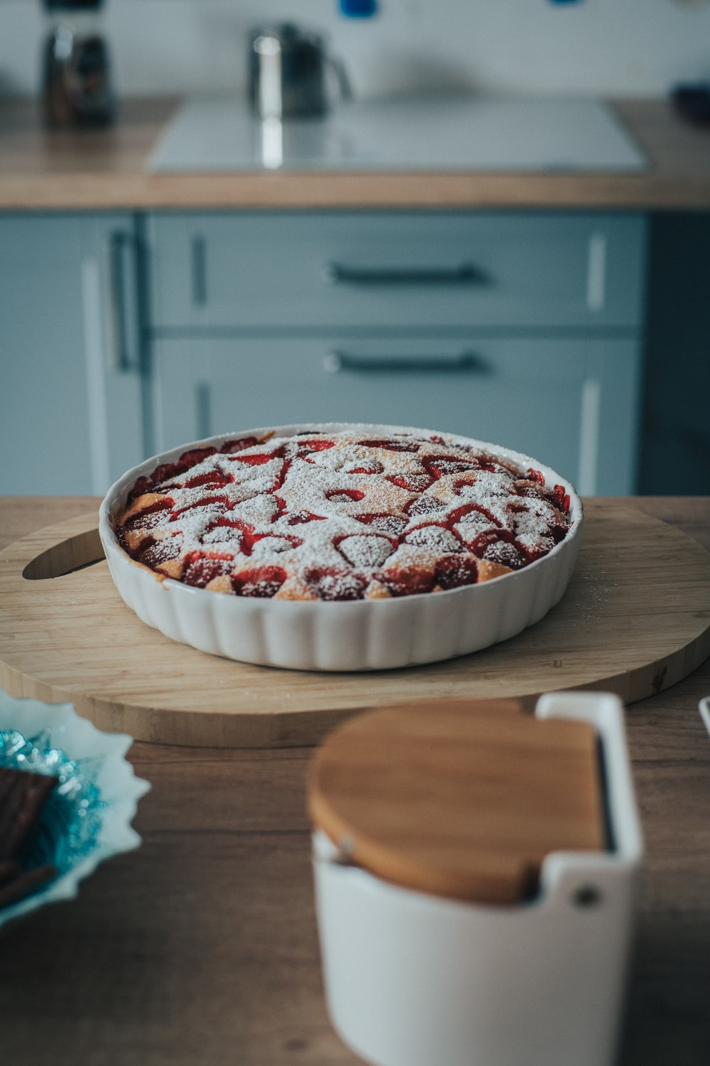 food photography of baked strawberry pie
