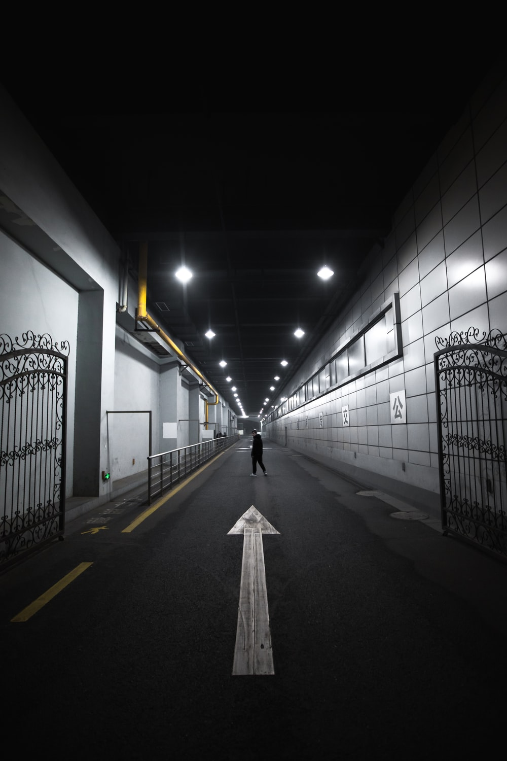 person in tunnel