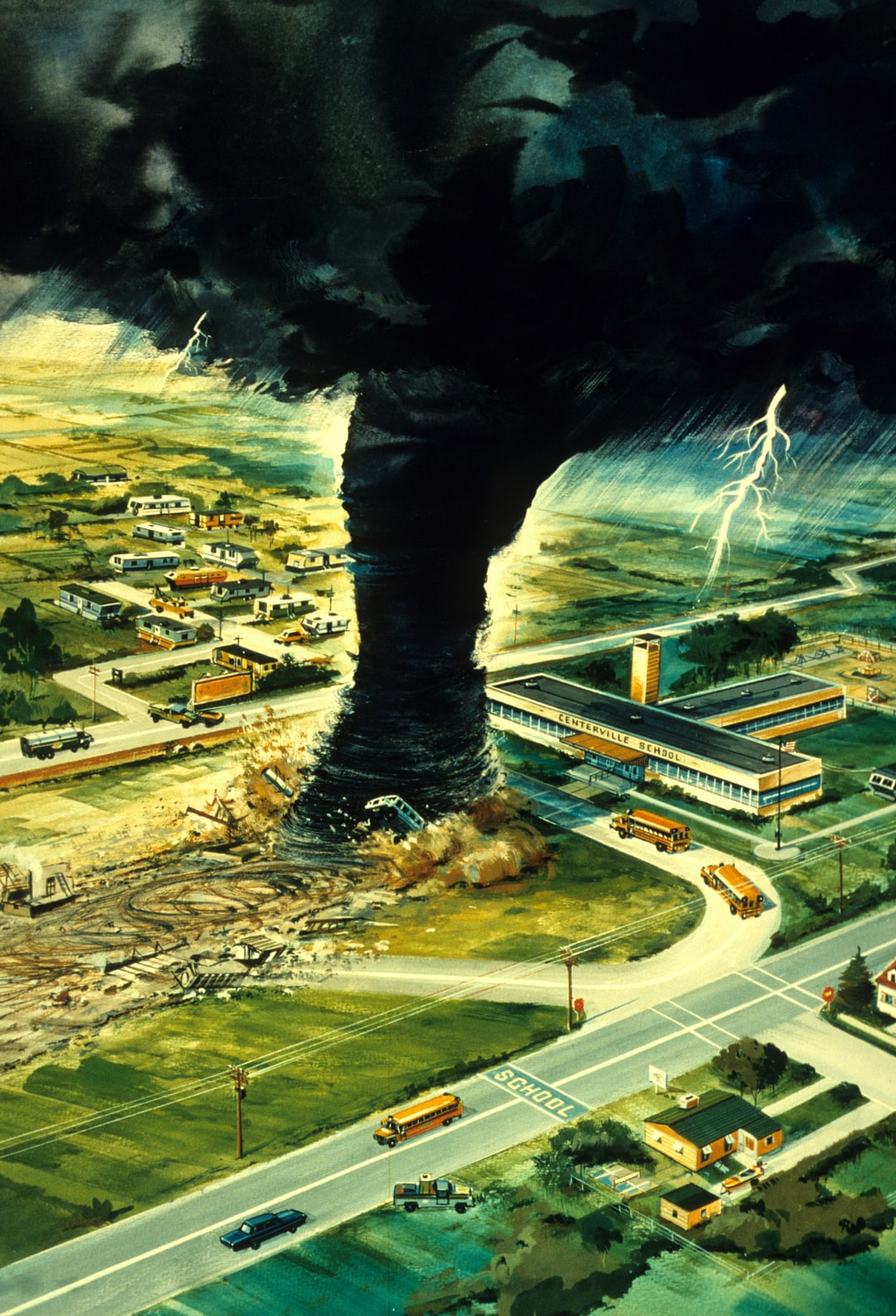 Artist's rendition of a tornado about to strike a school at the worst possible time while school buses are loading.