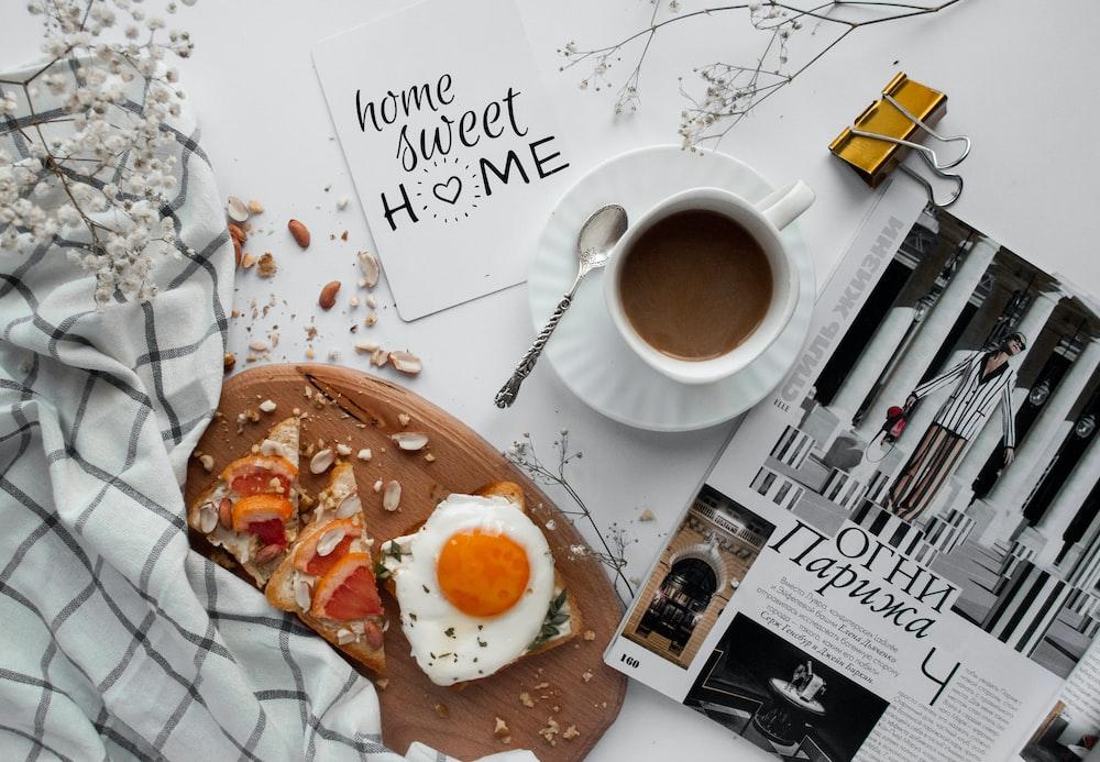 tray of egg and mug of coffee