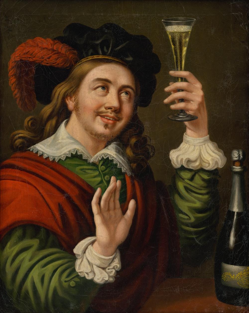 man raiding wine glass painting