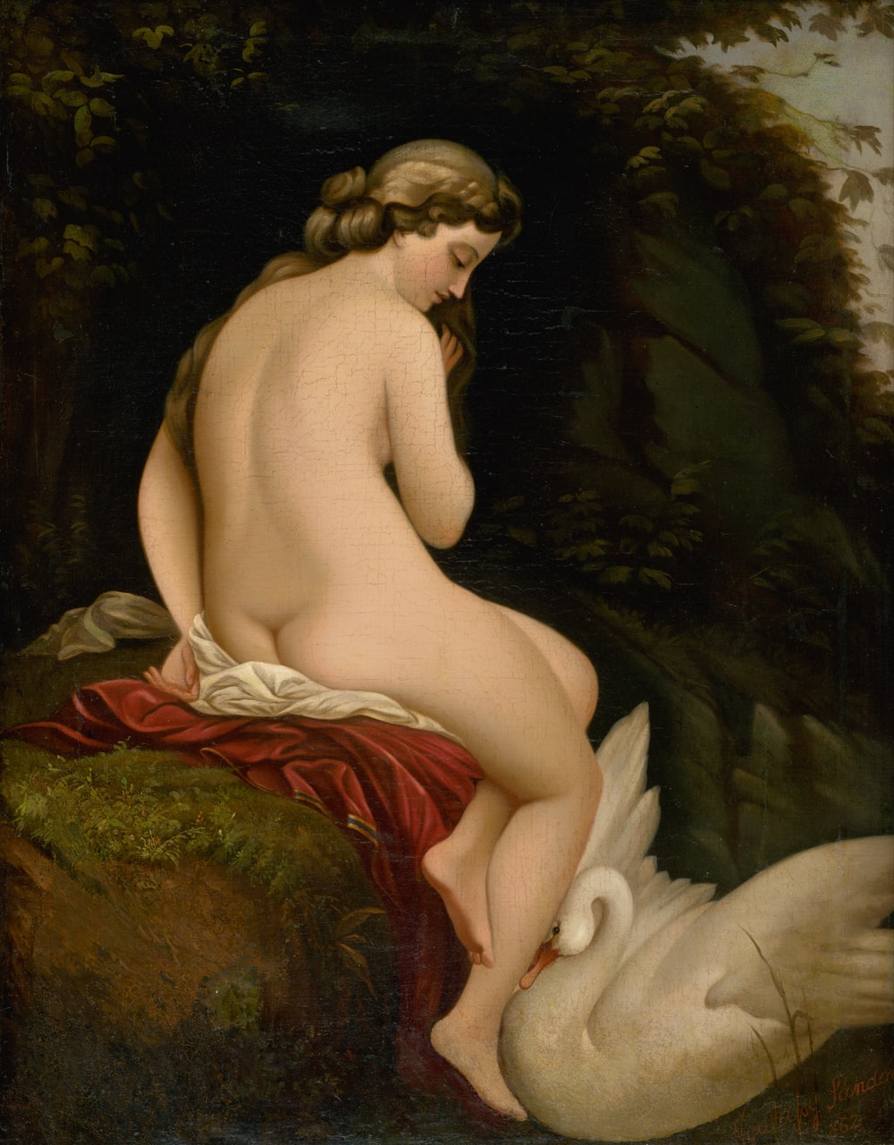 nude woman and white swan painting