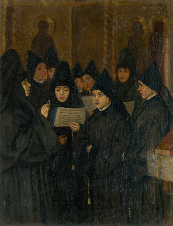 woman wearing black headdress holding book painting