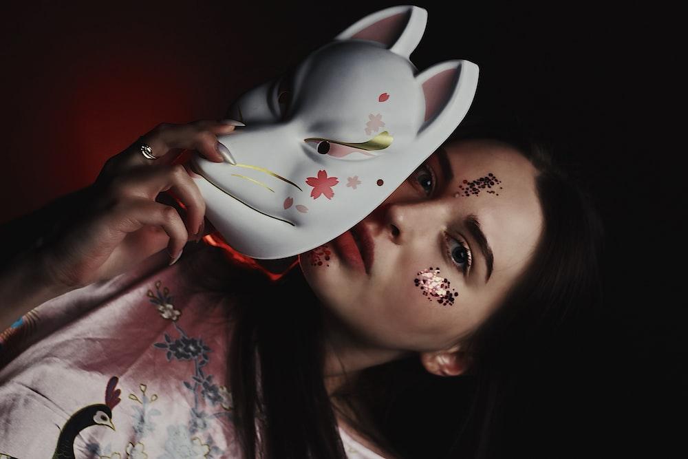 women's white mask