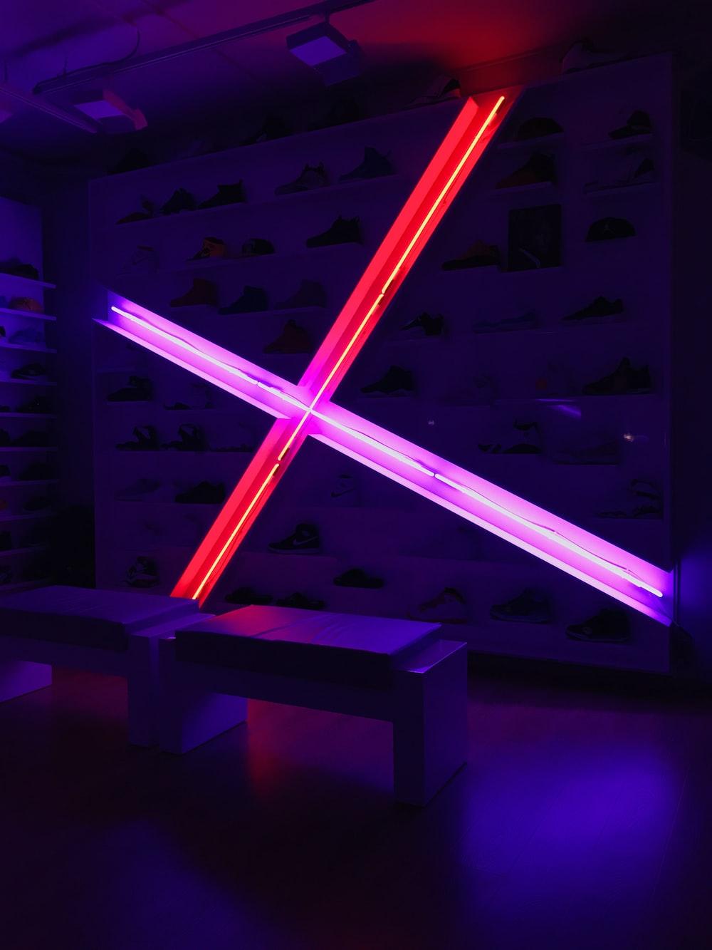 purple neon signage