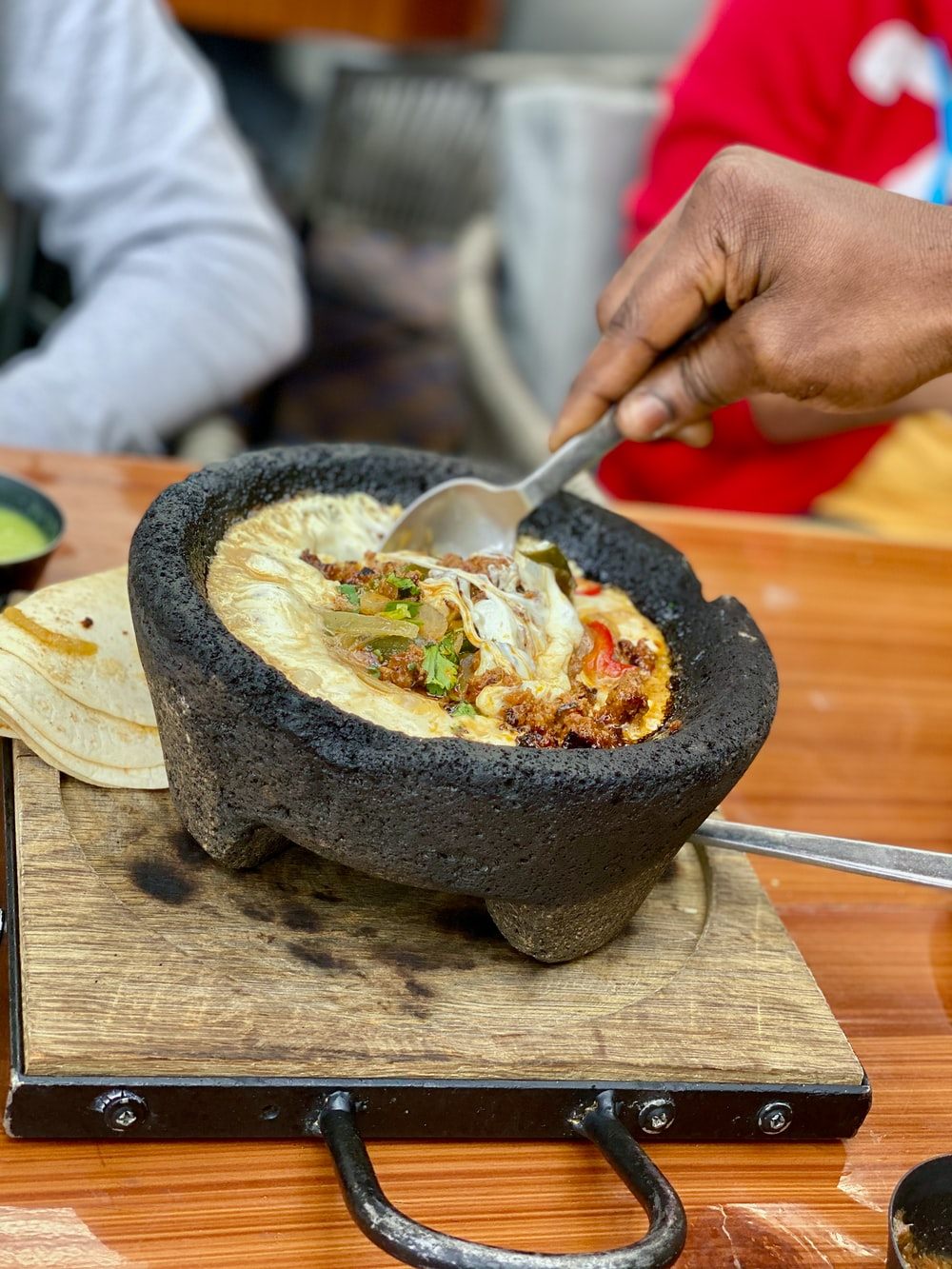 bowl of food on wooden surface