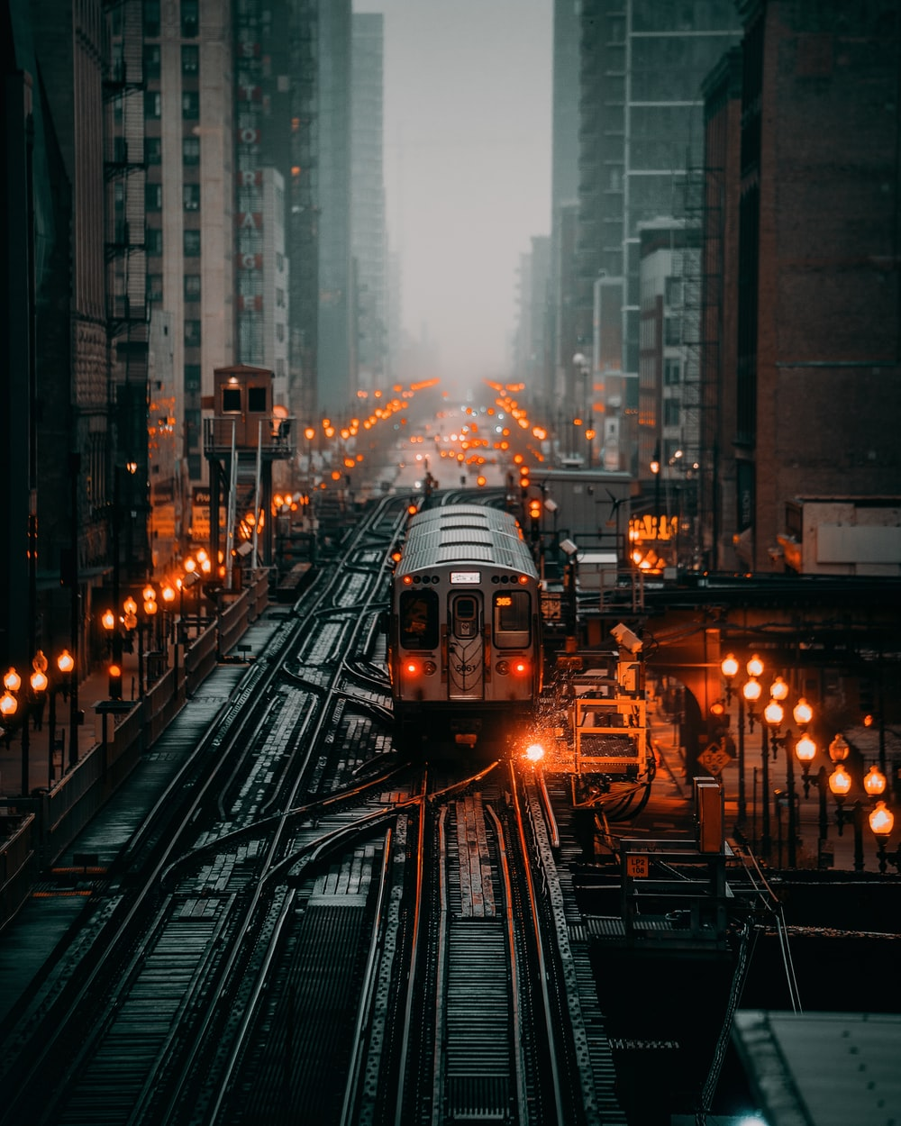 train traveling in city