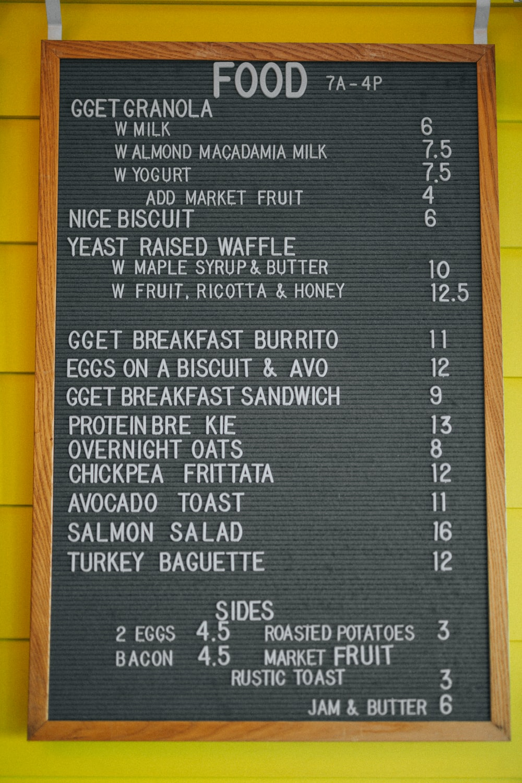 food menu on the wall