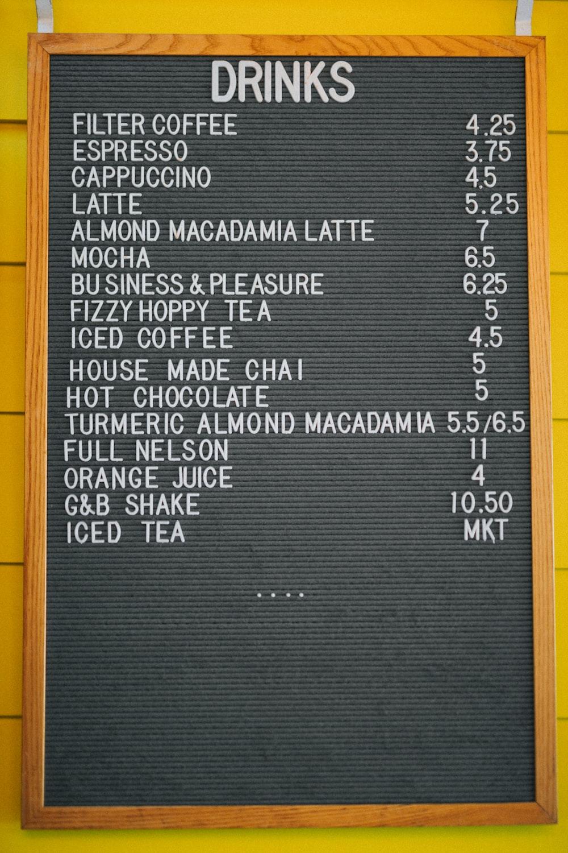drink's menu board