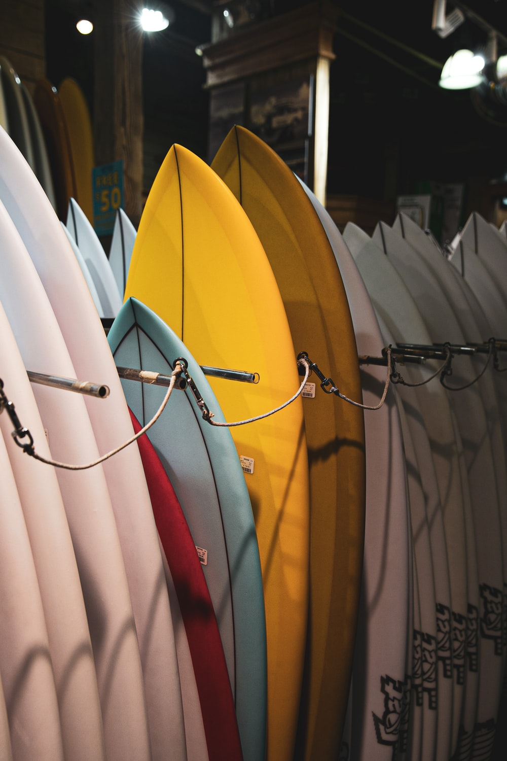 assorted-color surf boards
