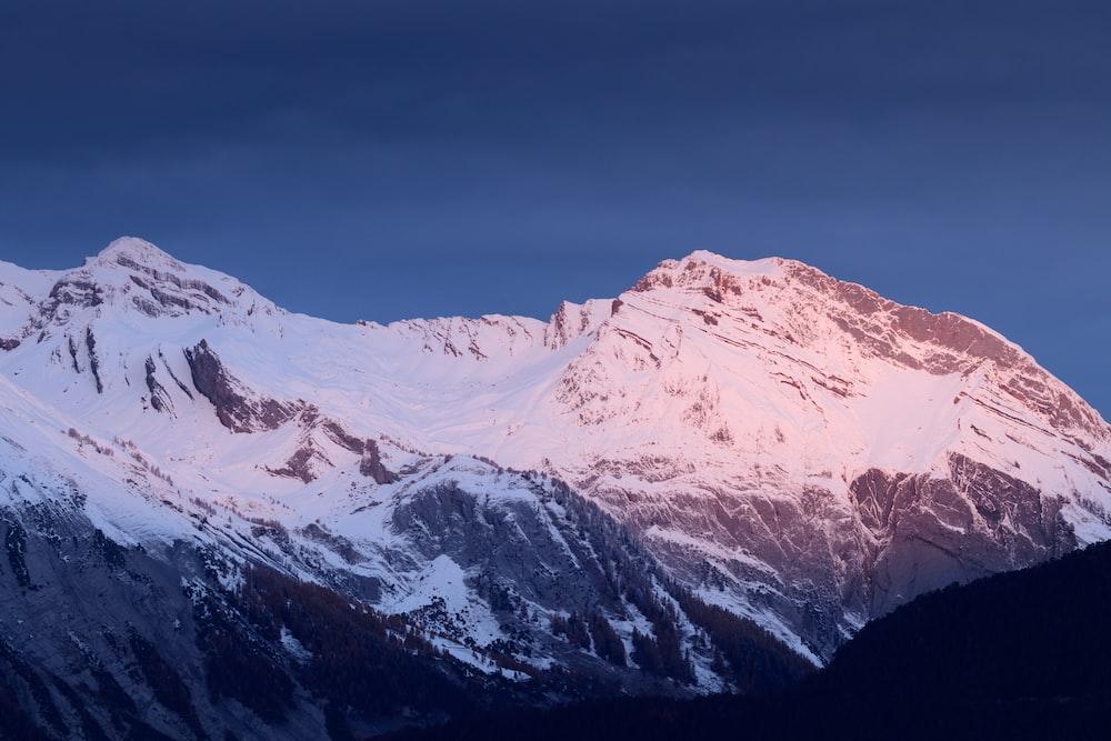 snow capped mountain ridge
