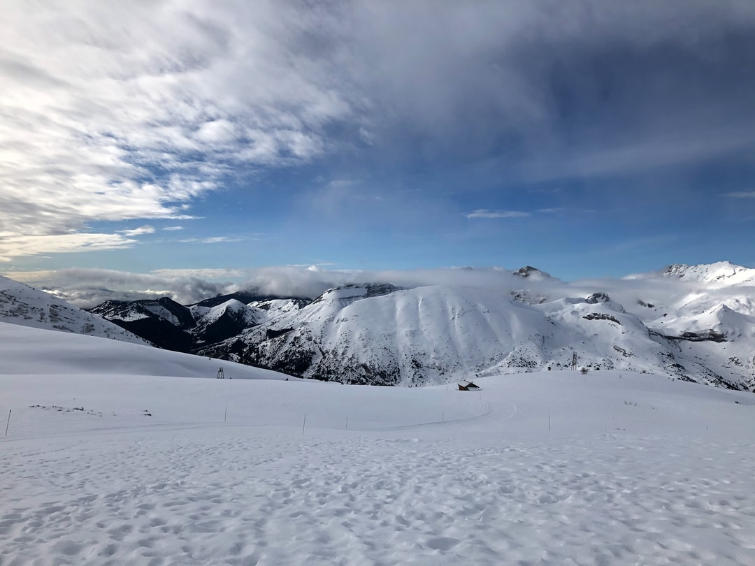 Alps top view @ 2000m altitude towards Tete de Garnesier (2367m) & Roc de Garnesier (2367m) peaks.
