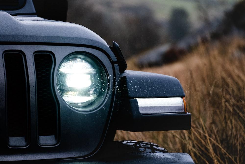 turned-on vehicle headlight