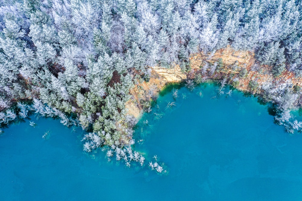aerial photo of calm body of water