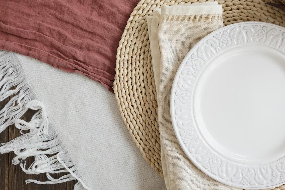 empty round white plate