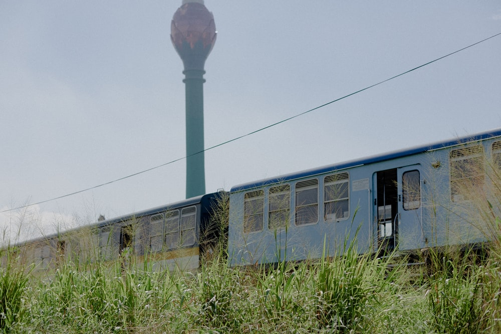 blue train beside grass during day