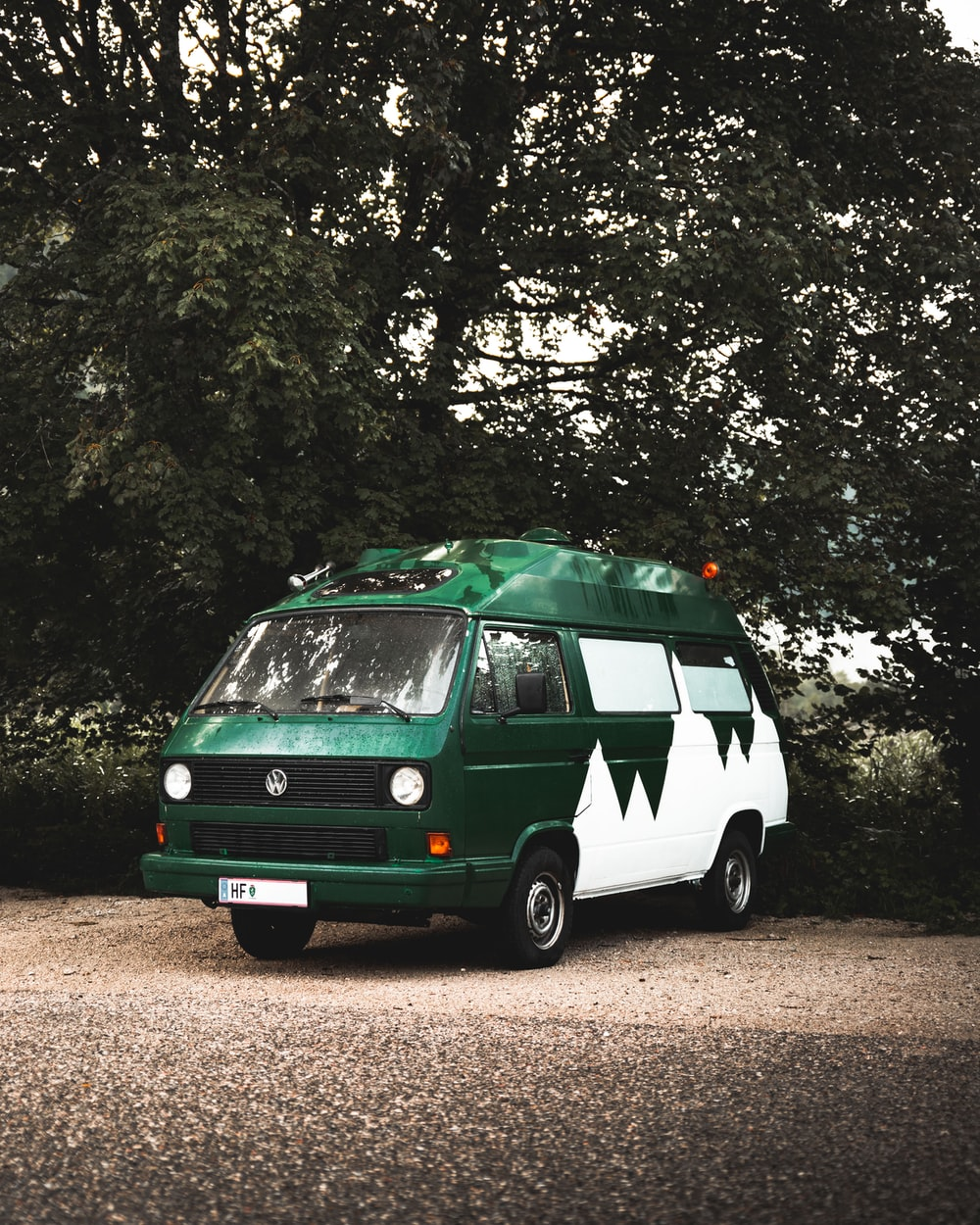green and white van