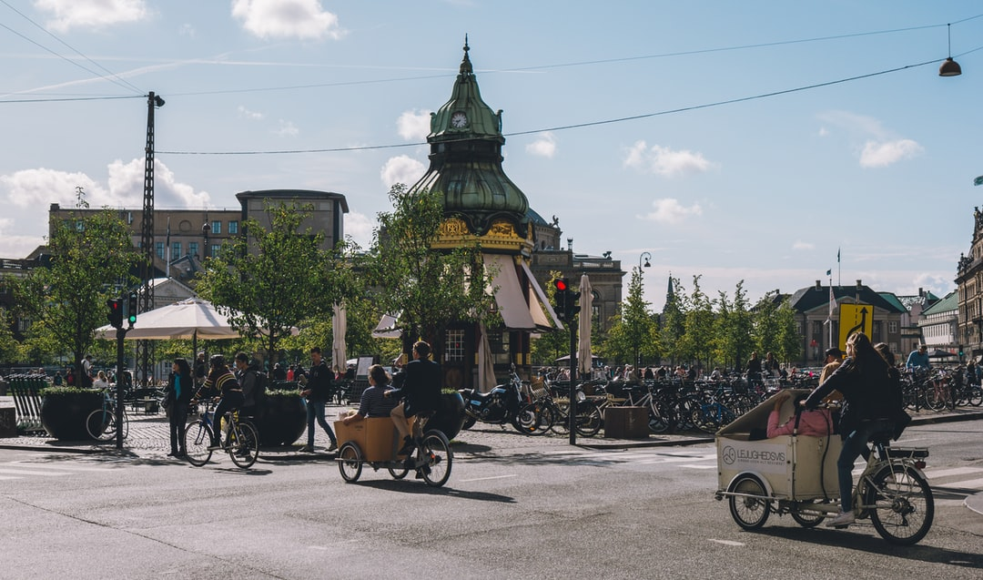 Bikes riding on a crosswalk in Copenhagen