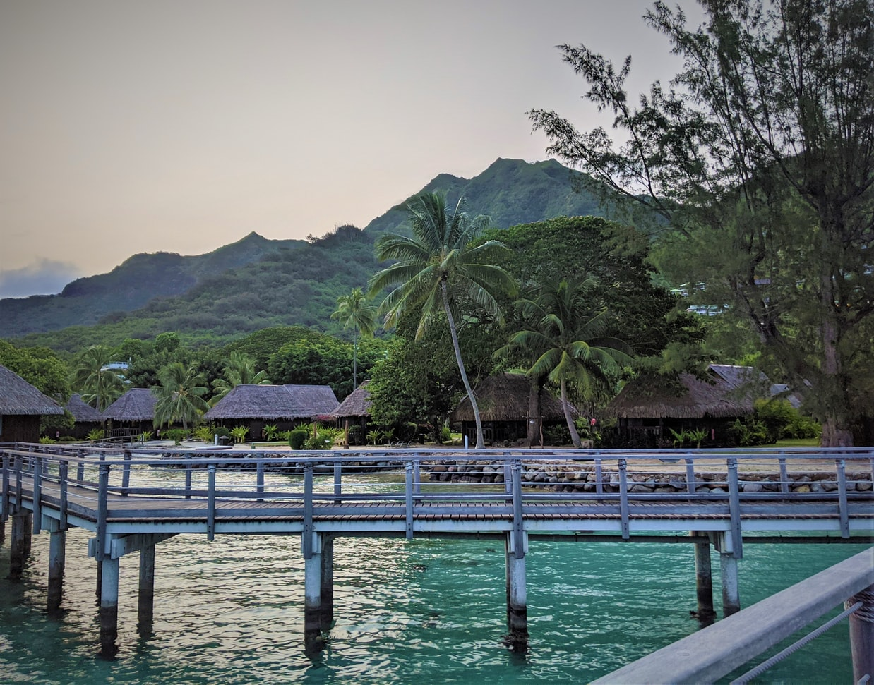 a dock and bungalows in Moorea, French Polynesia