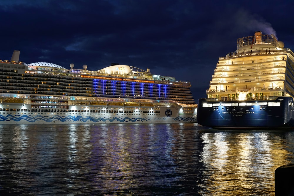 landscape photography of two cruise ships