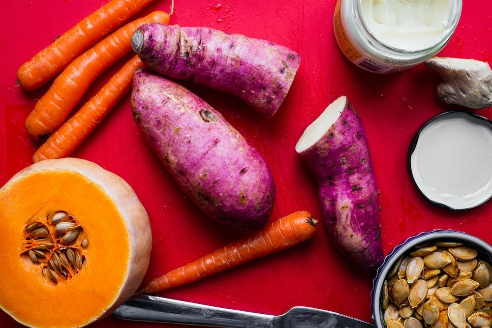 sweet potato, carrots, and squash
