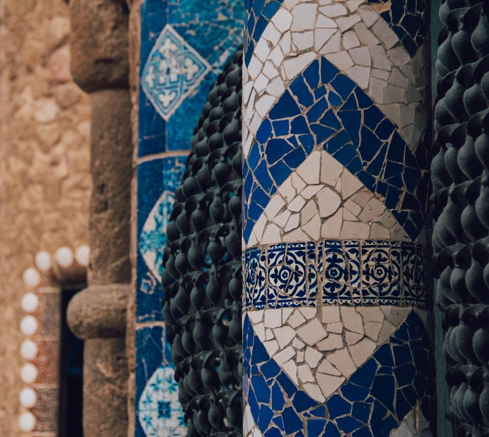 white and blue mosaic decor