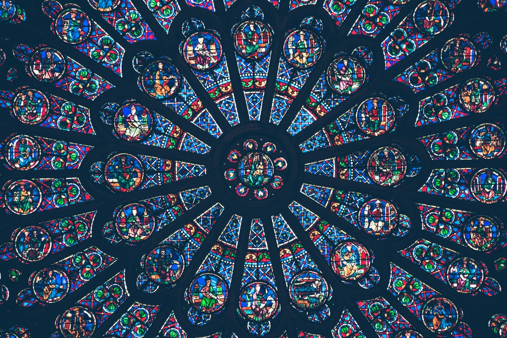 multicolored floral stained glass decor