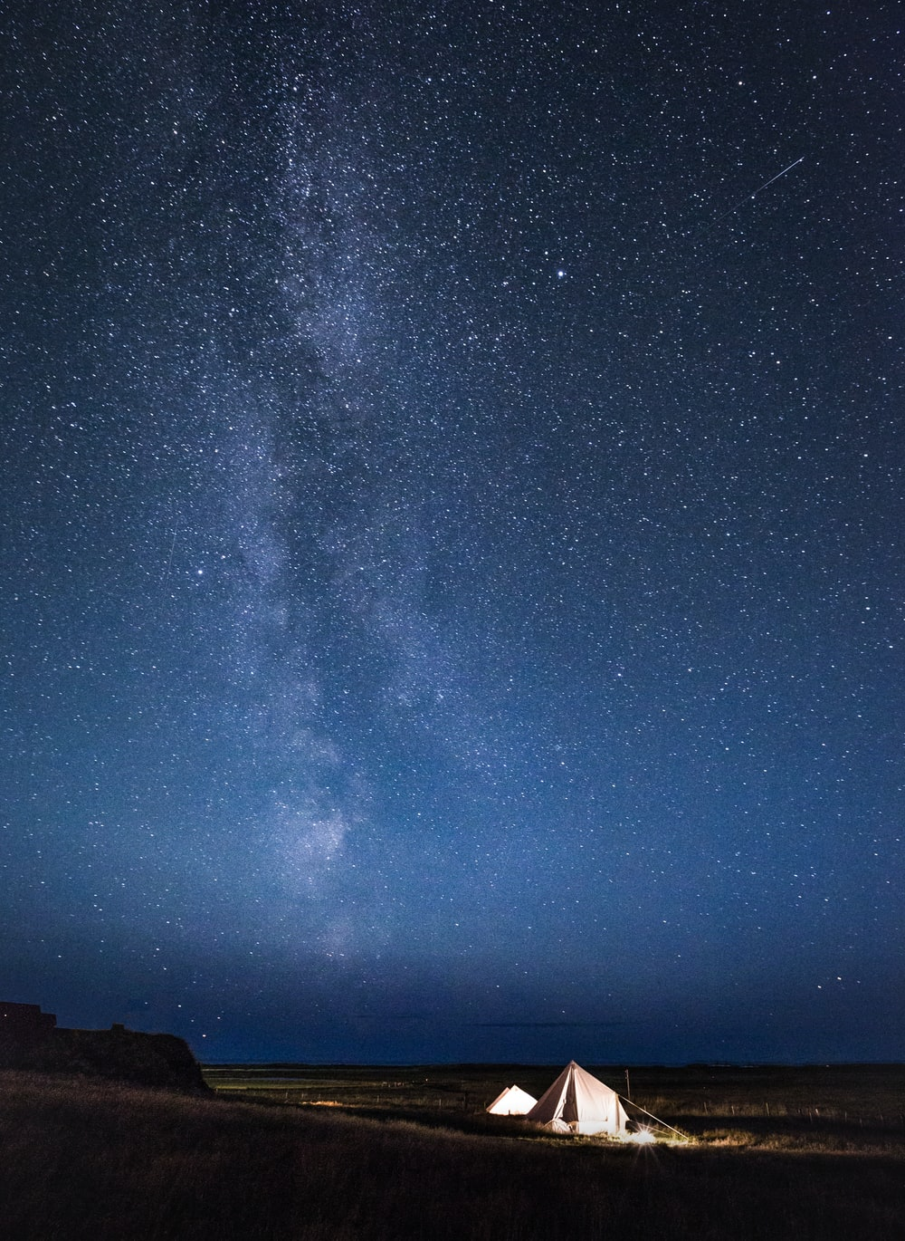 tent under milkyway at nighttime