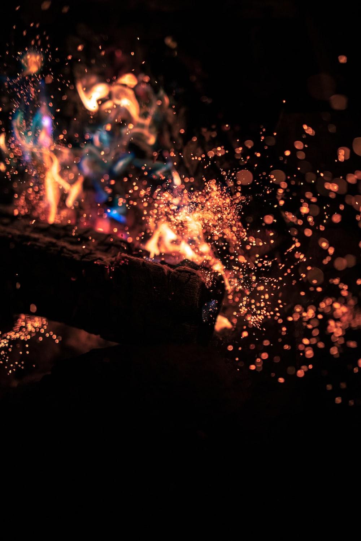 macro photography of orange bonfire