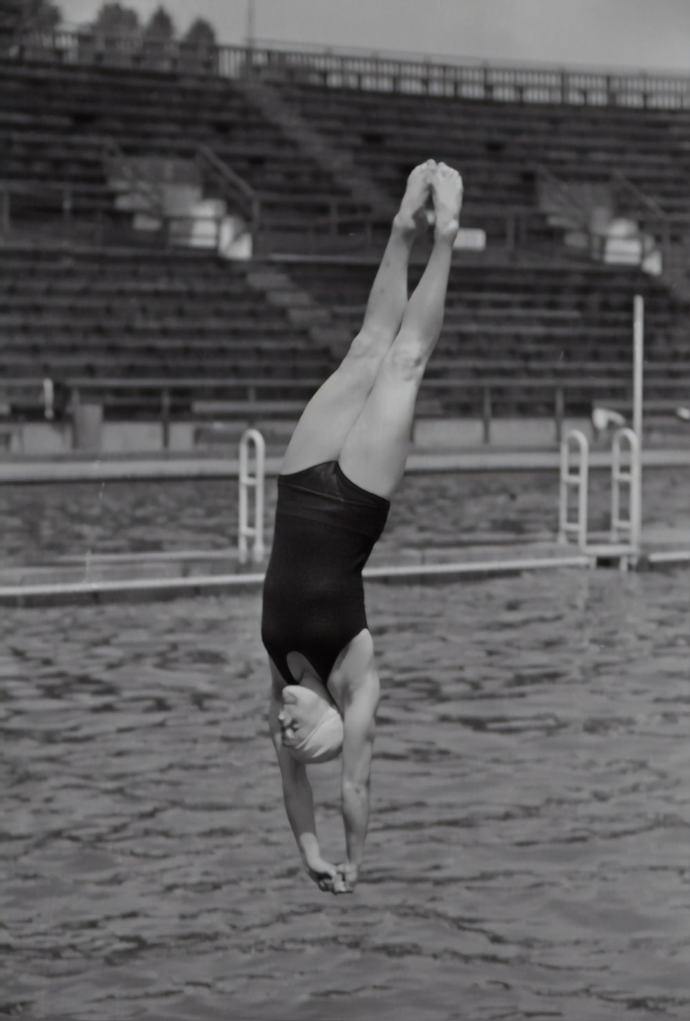 woman diving on the pool photograph