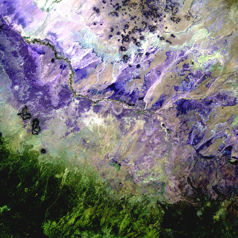 purple, gray, and green abstract painting