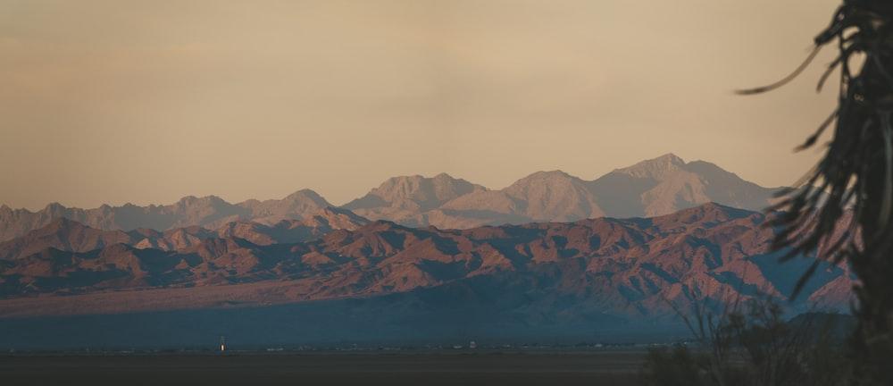 in distant photo of mountain ridge
