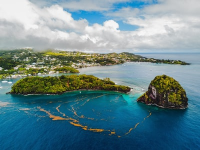 aerial photography of island saint vincent and the grenadines teams background