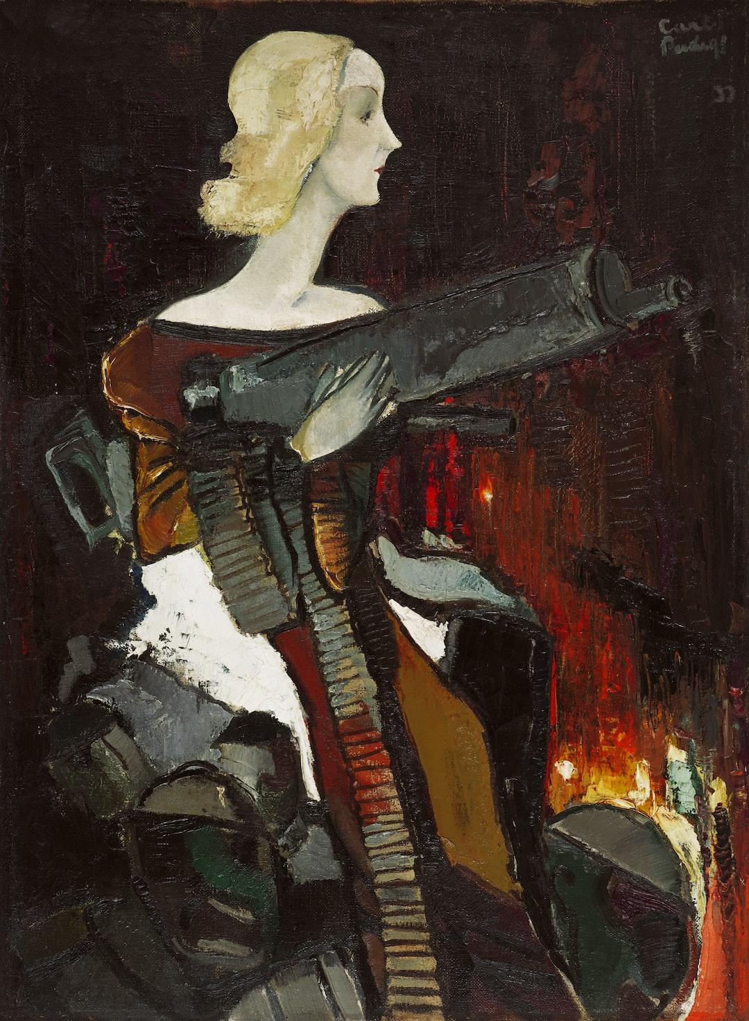 Madonna with Machine Gun. Creator: Kārlis Padegs. Date: 1932. Institution: Latvijas Nacionālais mākslas muzejs. Provider: Europeana 280. Providing Country: Latvia. PD for Public Domain Mark