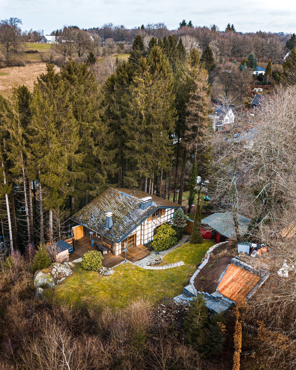aerial photograph of shack beside trees