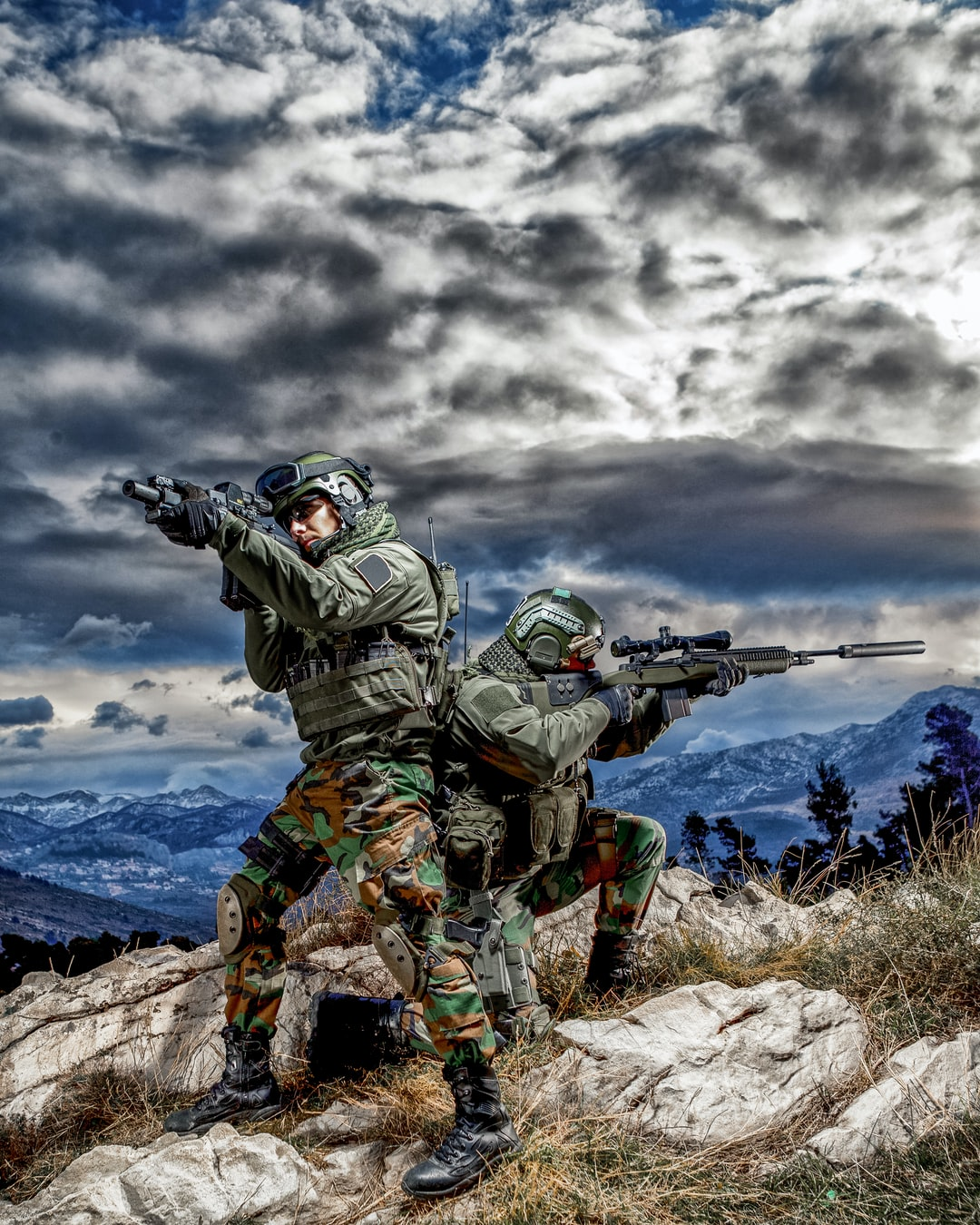 Two Soldiers with an Automatic Guns