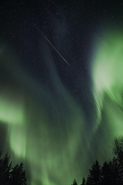 Aurora Borealis during night time