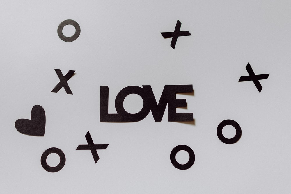black love word cutout paper decor
